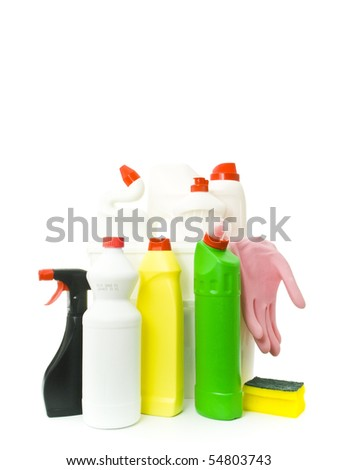 Plastic bucket with cleaning supplies on white background - stock photo