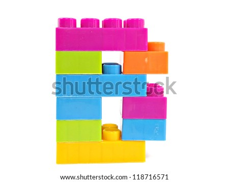 plastic building blocks letter B on a white background - stock photo