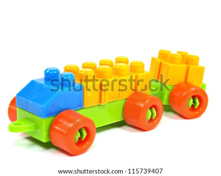 plastic building blocks truck on a white background