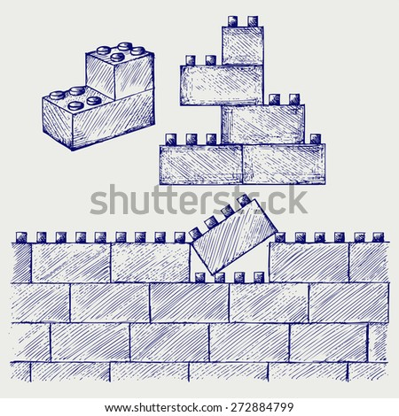 Plastic building. Doodle style. Raster version - stock photo