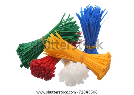 Plastic cable ties on a white background