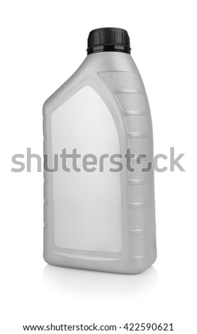 Plastic canister for machine oil isolated on white background - stock photo