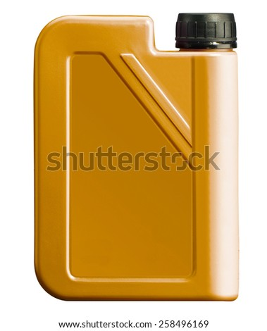 plastic canister for motor oil isolated on white - stock photo