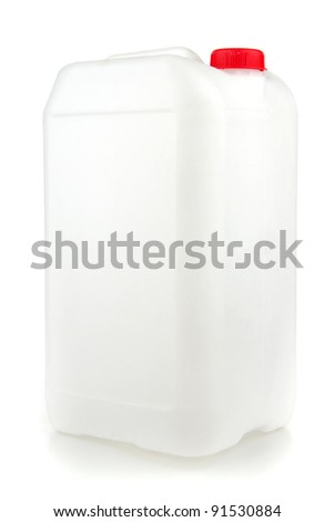 Plastic canister,  on white background. - stock photo