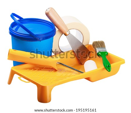 plastic cans of paint and painting tools - stock photo