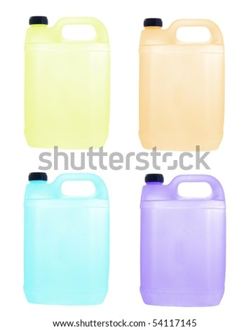 Plastic cans with in diverse colors - stock photo