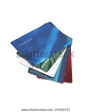 plastic cards you may find in a wallet, like debit, and credit cards - stock photo