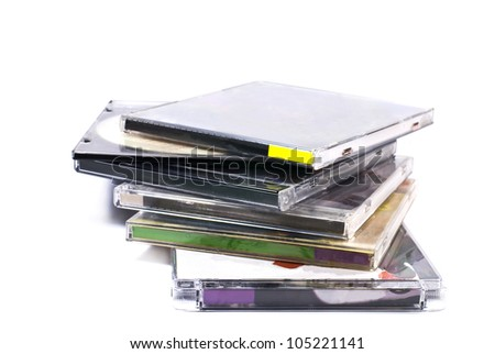 plastic cases of compact disk isolated on white - stock photo