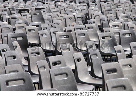 Plastic chairs in the street. Comfortable furniture for events