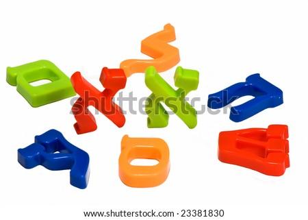 Plastic characters of Hebrew alphabet - stock photo