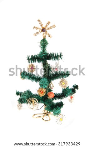 plastic christmas tree isolated on the white background - Plastic Christmas Tree