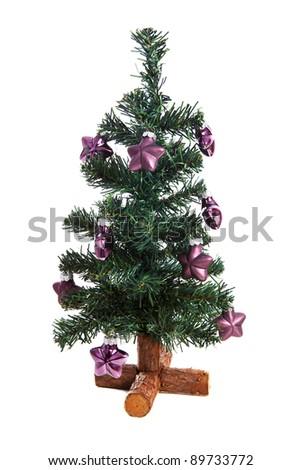 plastic christmas tree with purple stars isolated on white background - Plastic Christmas Tree