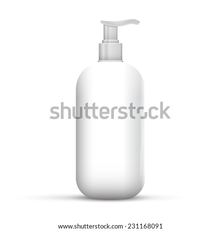 Plastic Clean White Bottle With Dispenser Pump. Shower Gel, Liquid Soap, Lotion, Cream, Shampoo, Bath Foam. Ready For Your Design. Illustration Isolated On White Background. - stock photo