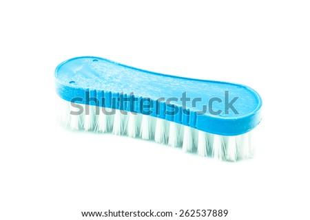 plastic cleaning brush  on white background - stock photo