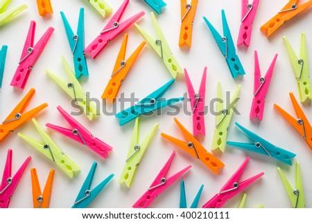 Plastic clothespin - stock photo