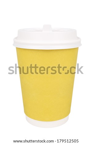Plastic coffee cup, isolated on white background - stock photo