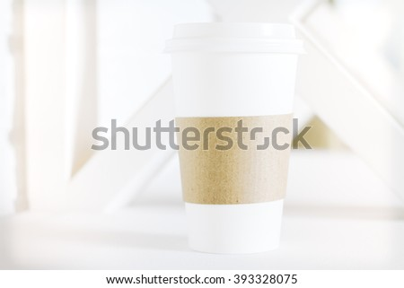 Plastic coffee cup on white background. Mock up