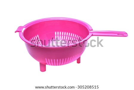 Plastic colander isolated on a white background - stock photo