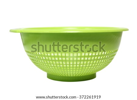 Plastic Colander. Isolated with clipping path. - stock photo