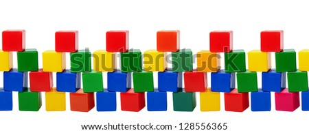 Plastic color blocks. Old toys - seamless row isolated on white background - stock photo