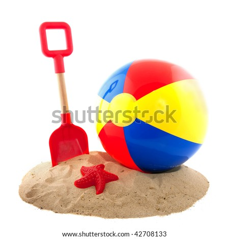 Plastic colorful ball and toys for at the beach - stock photo