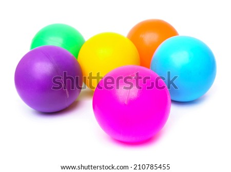 plastic colorful balls isolated on white