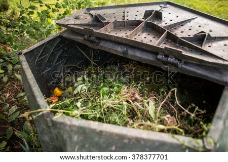 Plastic composter in a garden - filled with decaying organic material to be used as a fertilizer for growing home-grown, organic vegetables (shallow DOF) - stock photo