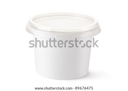 Plastic container for dairy foods. Isolated on a white. - stock photo