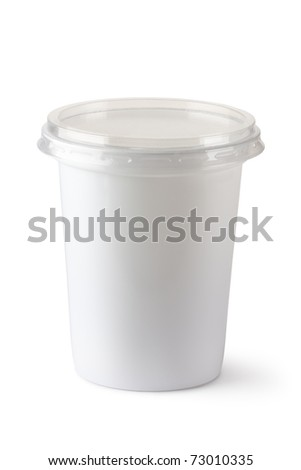 Plastic container for dairy foods. Isolated on white. - stock photo