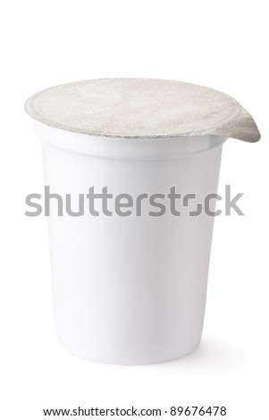 Plastic container for dairy foods with foil lid. Isolated on a white. - stock photo