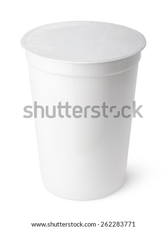 Plastic container for dairy foods with foil lid isolated on white - stock photo