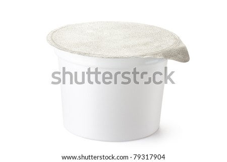 Plastic container for dairy foods with foil lid. Isolated on white. - stock photo