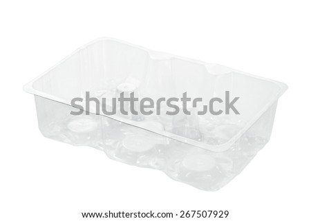 Plastic container for food isolated on white background. - stock photo