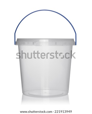 Plastic container for foodstuffs. Isolated on white. - stock photo