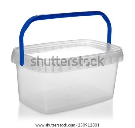 Plastic container for foodstuffs, isolated on white background - stock photo