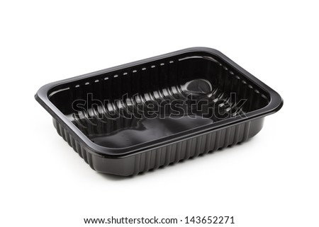 plastic container isolated on white - stock photo