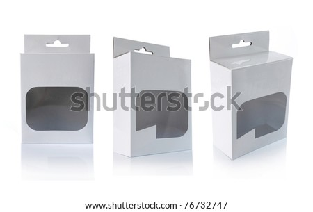 plastic container with transparent window isolated over white background - stock photo