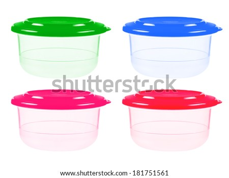 Plastic containers for food isolated on white. collage  - stock photo