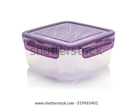 Plastic containers for food isolated on white reflect background - stock photo