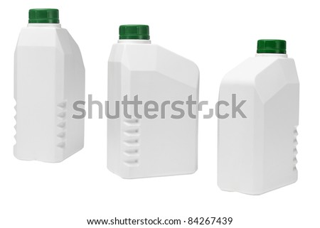 Plastic containers for industrial use on white background - stock photo