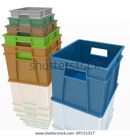 plastic containers on a white background