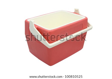Plastic cooler box opened cover on white background.
