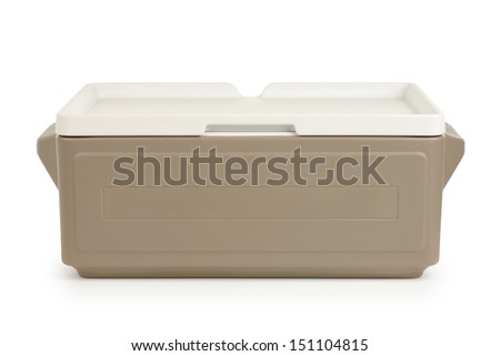 Plastic cooler on white background - stock photo