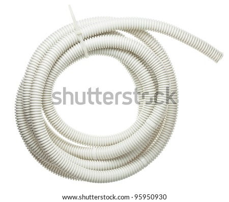 Plastic corrugated pipe, tube for cable protection in electrical installation. - stock photo