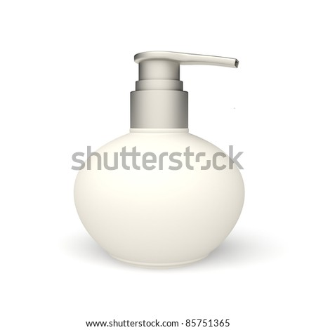 plastic cosmetic bottle on the white background - stock photo