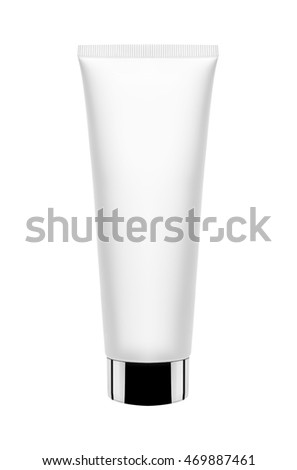 plastic cream tube on white background