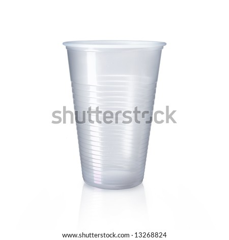 Plastic cup isolated on white - stock photo