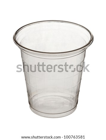 Plastic cup isolated on white background - stock photo