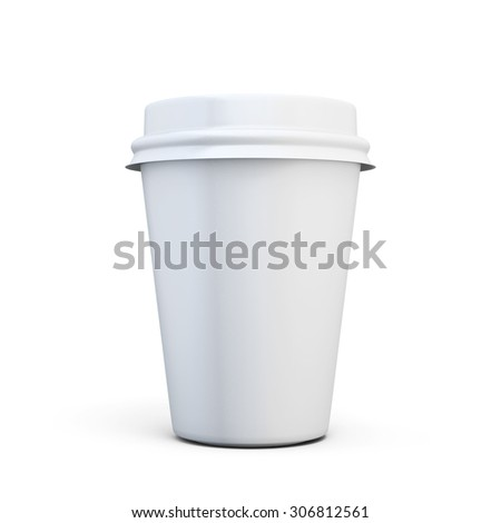 Plastic cup of coffee for your design isolated on white background. 3d illustration. - stock photo