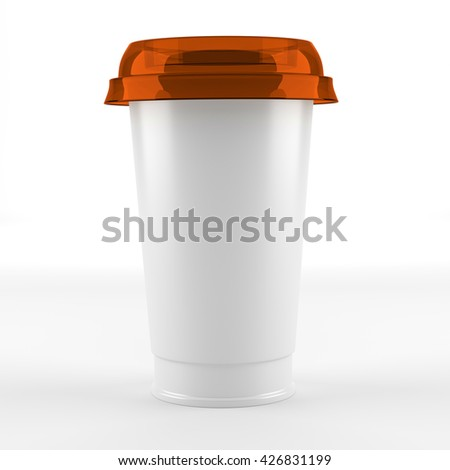 plastic cup with cap - 3d illustration